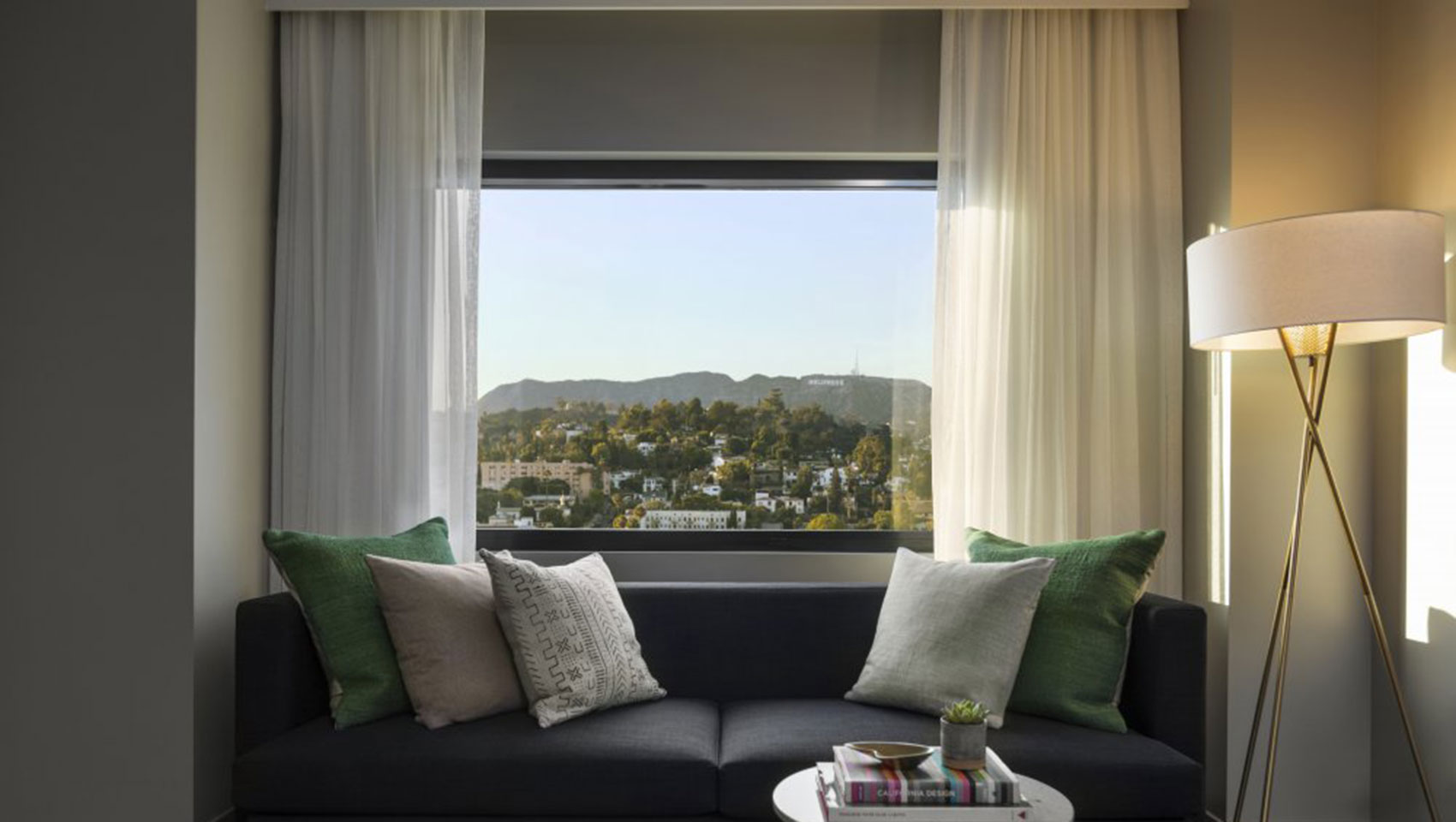 The Kimpton Everly Hotel hollywood guestroom sofa