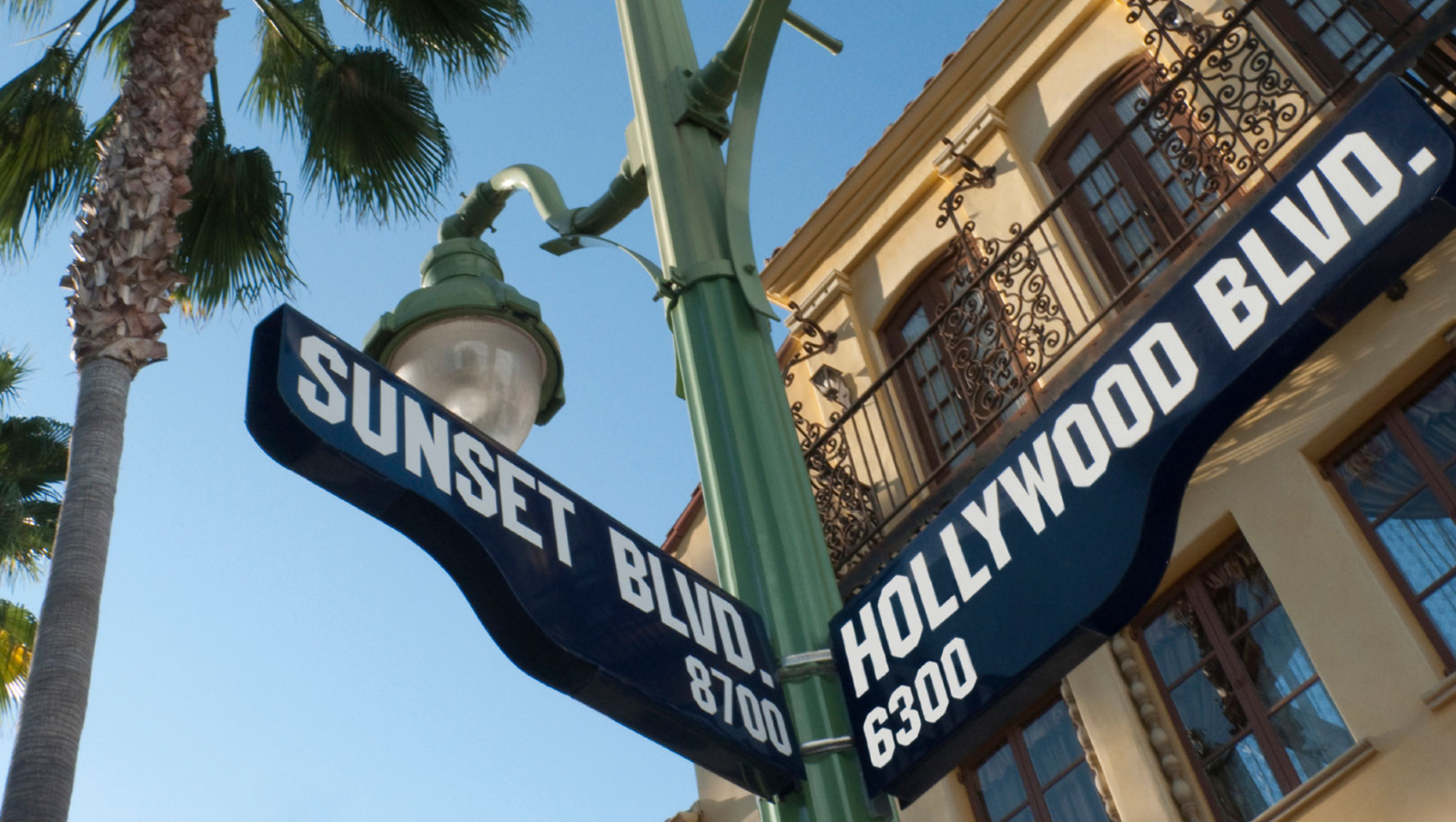 hollywood blvd street sign intersection sunset blvd